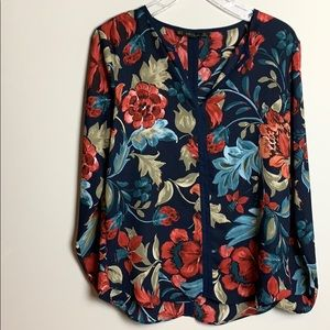 Zara black red and green floral top.
